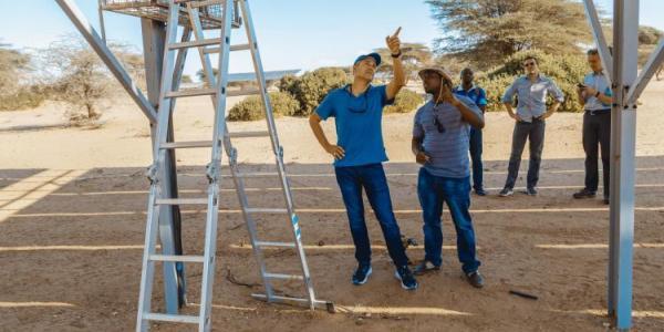 Jason Neff in the field examining infrastructure