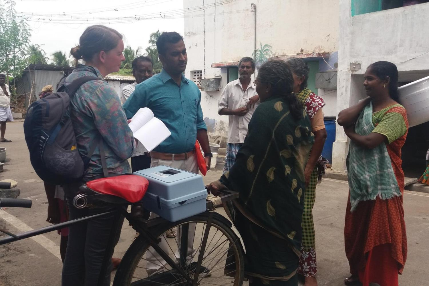 Allison Davis with local townspeople in India.