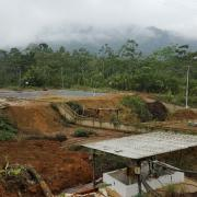 Mining site affected by acid mine drainage