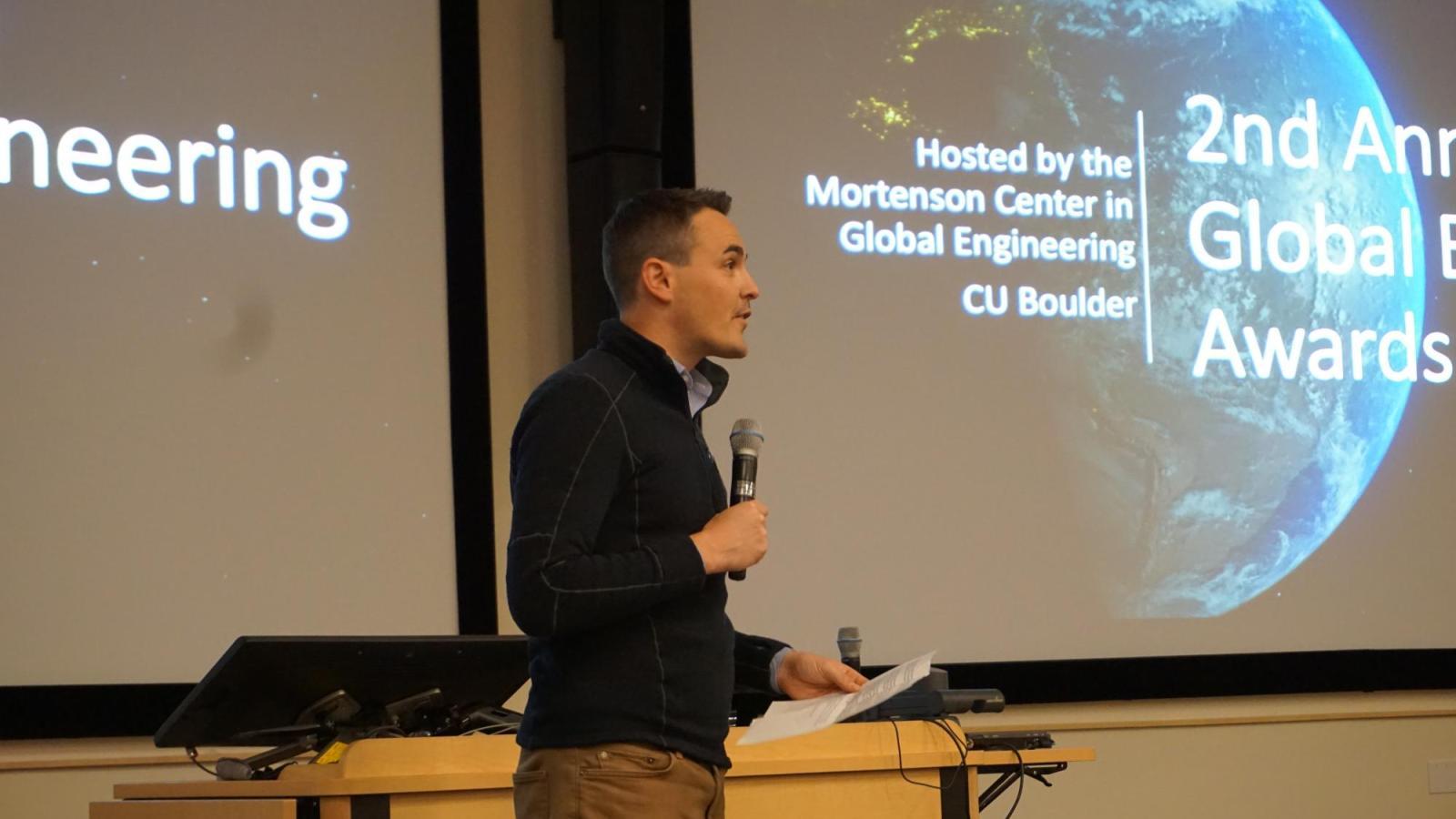 Mortenson Center Director Evan Thomas addresses the 2020 Global Engineering Awards