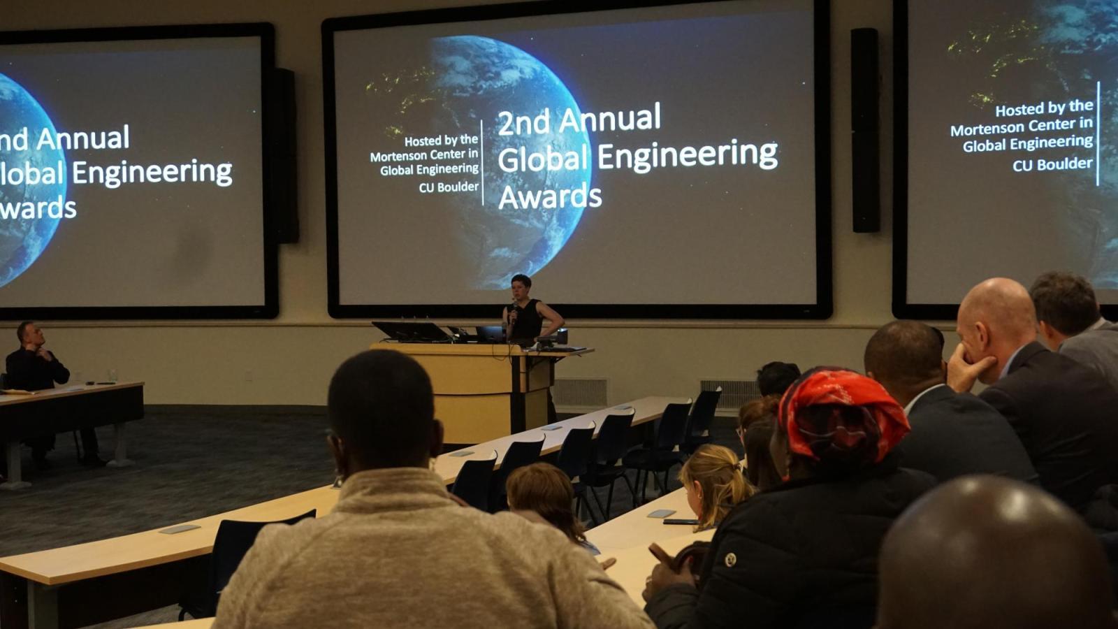 Mortenson Center Managing Director Laura MacDonald addresses the 2020 Global Engineering Awards