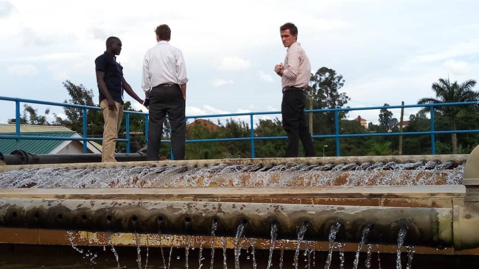 Ken Wallace and Caleb Cord tour a water treatment plant