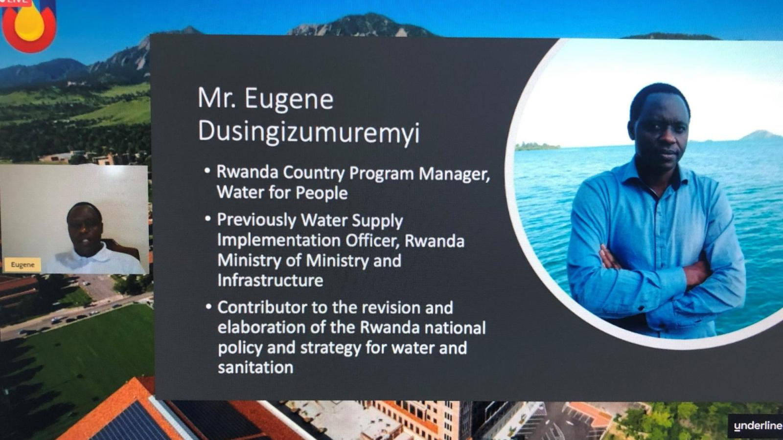 Eugene's Slide from the award presentation showing him and text