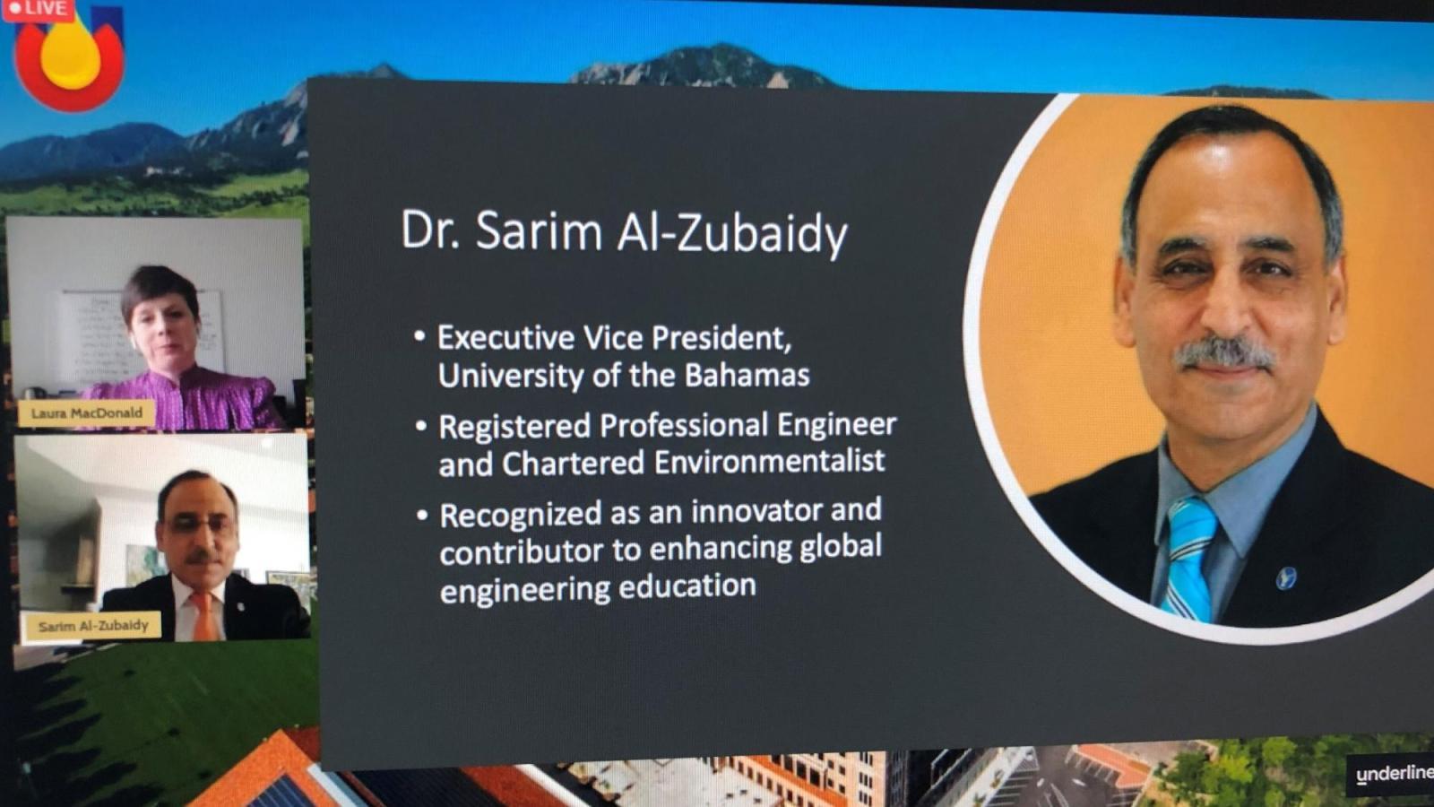 Dr. Sarim Al-Zubaidy is awarded the Global Engineering Humanitarian Award