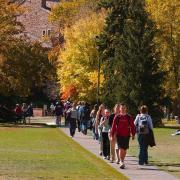 Students walk across campus at CU Boulder