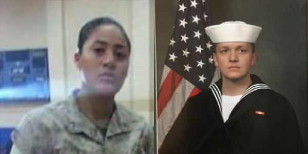Nisa Jovel and Reed Robins in military uniform
