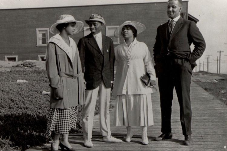 """Visitors to Bruce's Beach in 1920, featured in the book """"Living the California Dream,"""" by Alison Rose Jefferson"""