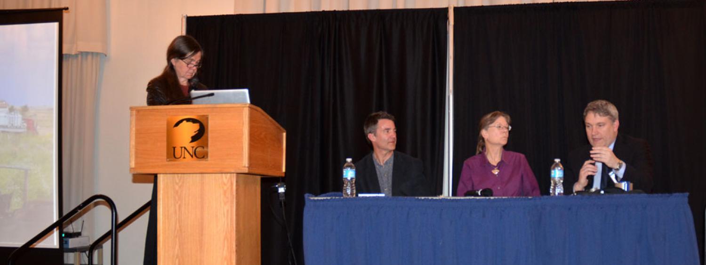 Patty Limerick, Joe Ryan, Debra Higley, and Will Fleckenstein on stage