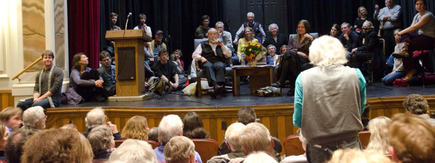 group photo of John McPhee and audience at Stegner Award Event