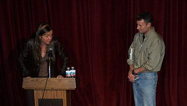 Patty Limerick on stage with Timothy Egan