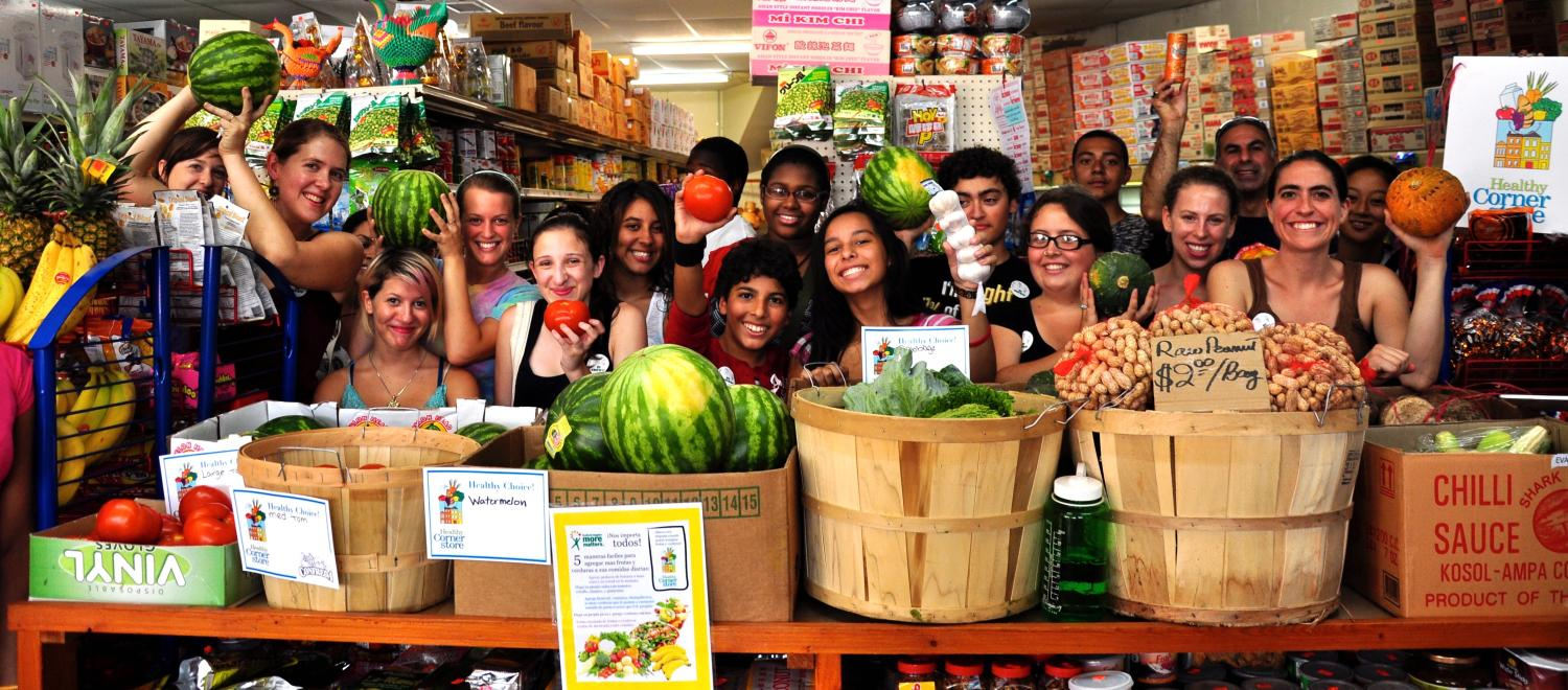 Youth gather to work on the Healthy Corner Store Initiative in Providence