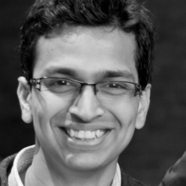 Portrait of Vignesh Kasinath, assistant professor of biochemistry.