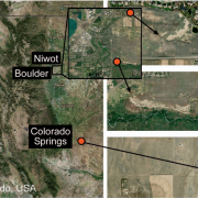 Satellite image of the greater Boulder/Denver /Colorado Springs area