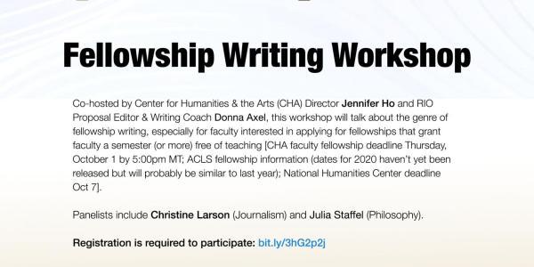 CHA RIO Fellowship Writing Workshop Flyer