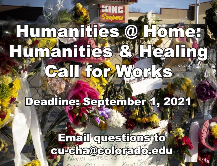 poster with humanities @ home, backdrop floral