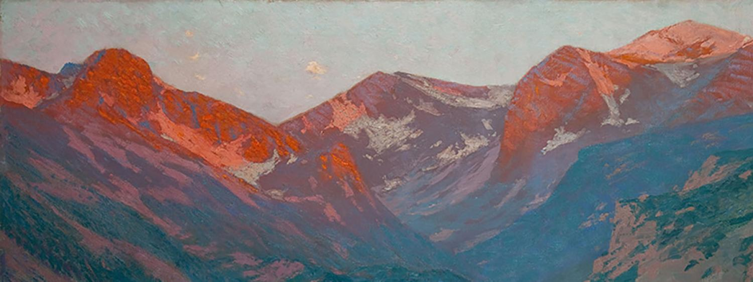 "Sunrise on the Mountains at the Head of Moraine Park, Near Estes Park, Colorado, c 1920 Charles Partridge Adams, (1858–1942) oil on canvas, 40"" x 60"""