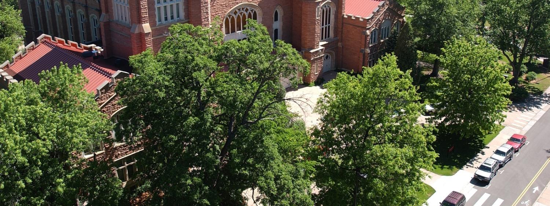 Aerial of Macky Auditorium