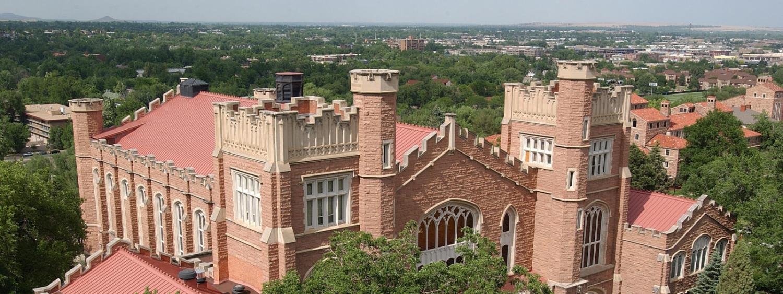 Macky Auditorium aerial view