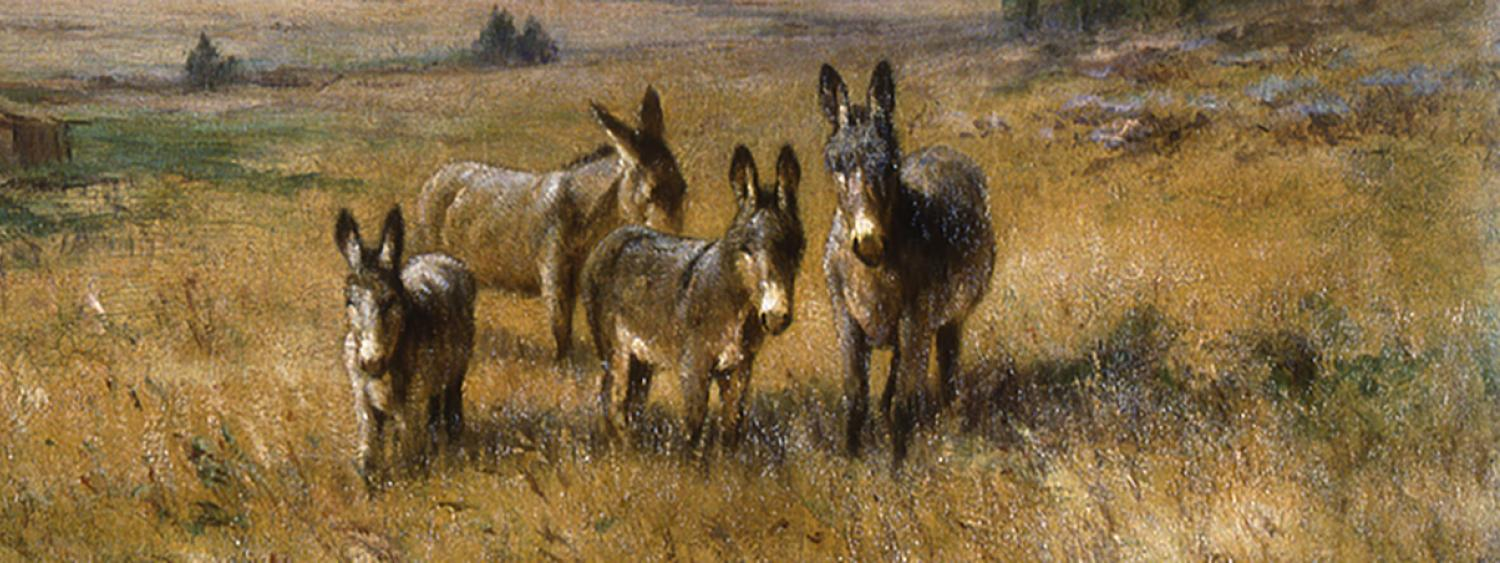 Art piece by Young of several mules with a barn in the background.