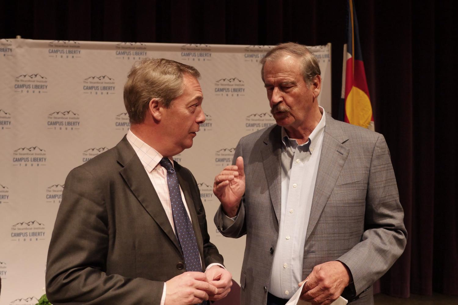 Brexit architect Nigel Farage, left, and former Mexican President Vincente Fox