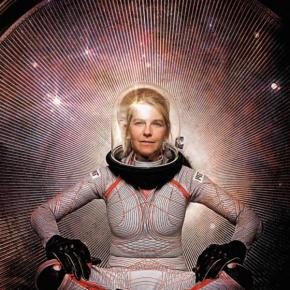 Dava Newman sits in a stylized spacesuit in front of a starry background