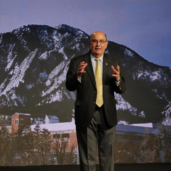Chancellor DiStefano speaks at CU Boulder Next in Los Angeles in 2018. California has more CU Boulder students, parents and alumni than any state outside of Colorado.