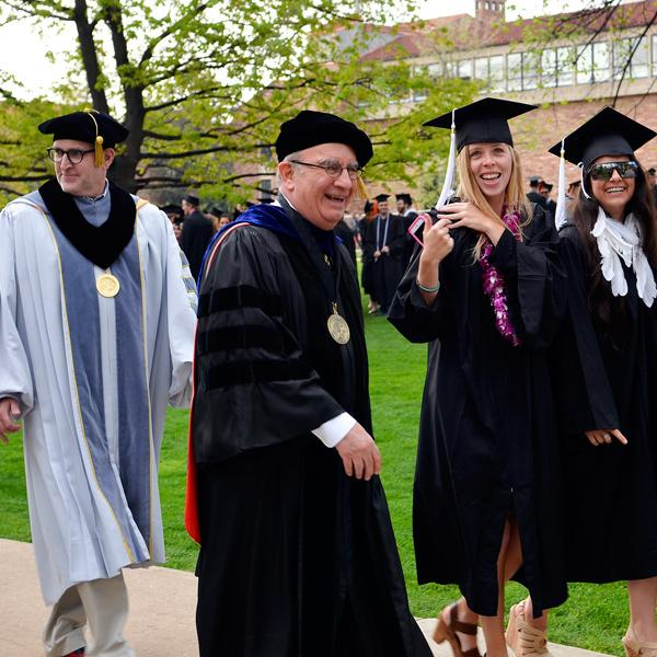Chancellor with students Commencement 2014