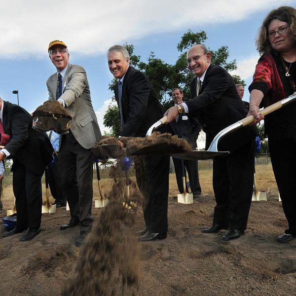 Chancellor DiStefano is joined by dignitaries in breaking ground for the Jennie Smoly Caruthers Biotechnology Building.