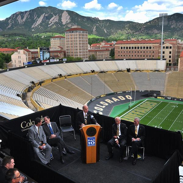 Chancellor DiStefano speaks at a press conference where the Golden Buffaloes accept an offer to join the Pac-10.
