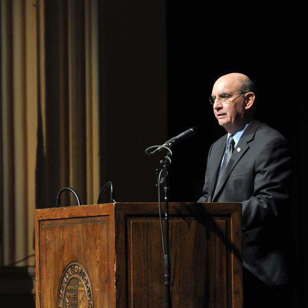 Chancellor DiStefano opens the 62nd Conference on World Affairs in the spring of 2011.