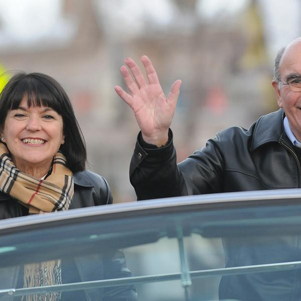 Chancellor Phil DiStefano, and his wife, Yvonne, annually participate in the Homecoming parade on University Hill.