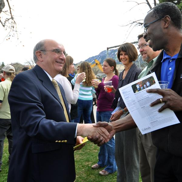 Chancellor Phil DiStefano greets visitors at the Center for Community groundbreaking ceremony.
