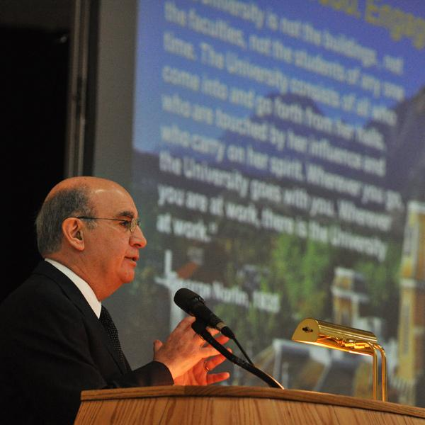 Dr. Phil DiStefano discusses the progress of the Flagship 2030 Strategic Plan to a full house in April 2009.