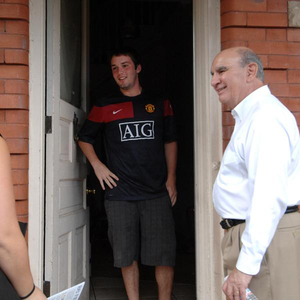 Chancellor Phil DiStefano goes door-to-door early each fall encouraging off-campus students to be good neighbors.
