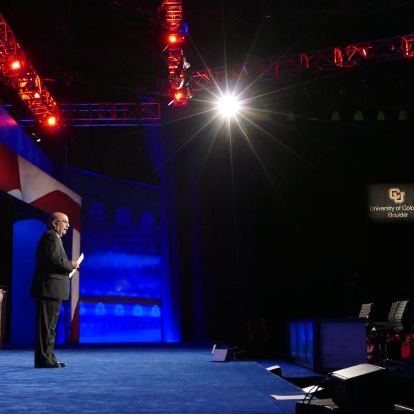 Chancellor DiStefano delivers opening remarks before the Republican presidential debate at the Coors Events Center on Oct. 28. 2015.