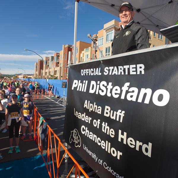 Chancellor DiStefano was the official starter of the 2015 Bolder Boulder to mark 35 years of partnership between the university and the world-famous 10K.