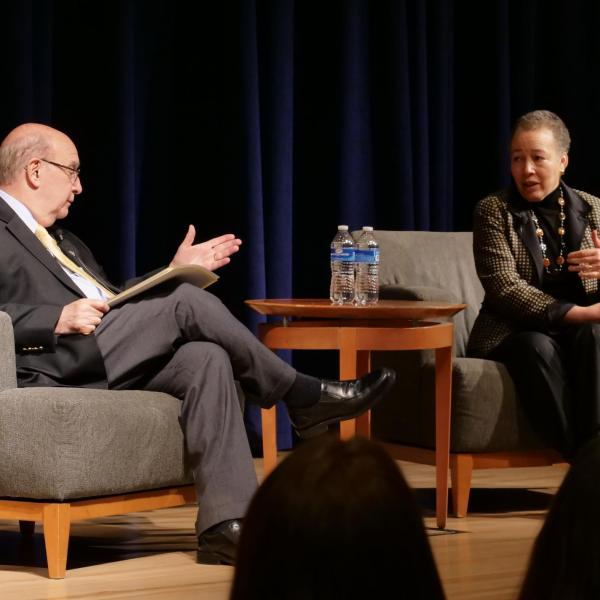 Chancellor DiStefano hosts best-selling author Beverly Daniel Tatum in a discussion on diversity and inclusion on college campuses in November 2018.