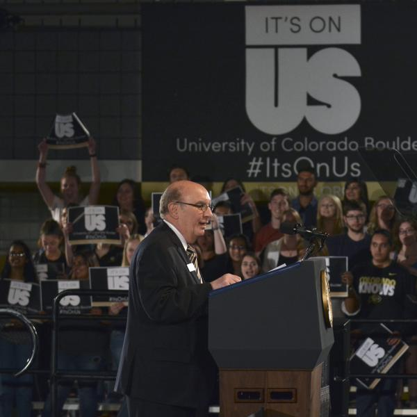 "Chancellor speaks at ""It's on Us"" rally hosted by Vice President Joe Biden on campus, April 8, 2016."
