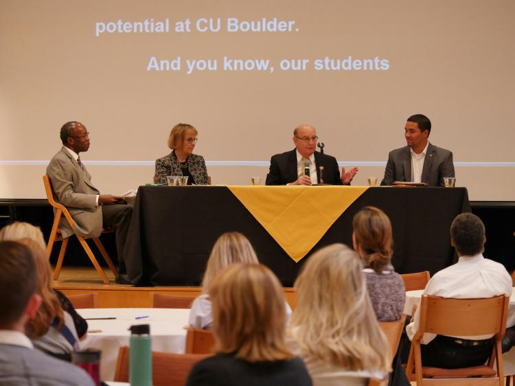 Chancellor Philip DiStefano with fellow panelists at the CU Boulder Diversity and Inclusion Summit.