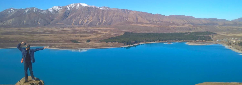Ku Thomas at Lake Tekapo in New Zealand