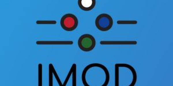 IMOD logo with blue background and white, blue, green and red dots