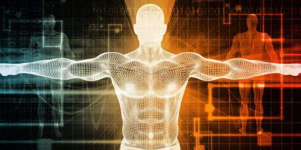 Graphic of a human body wireframe with computerized background
