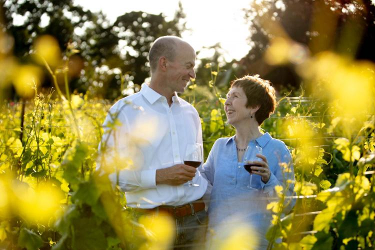 Green and his wife, Clodagh, in a vineyard