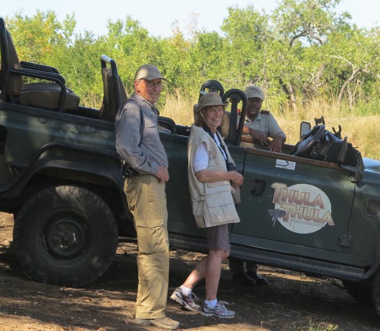 Professor Emeritus Bob Sani at the Thula Thula game reserve in South Africa