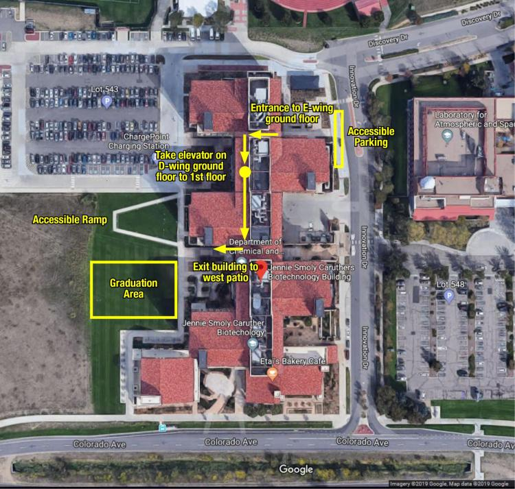 ADA parking instructions for East Campus JSCBB