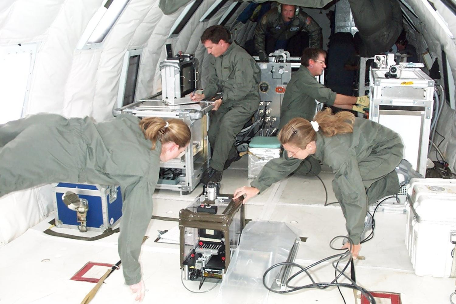 Instrument shop designs tested at zero gravity in a high altitude plane.