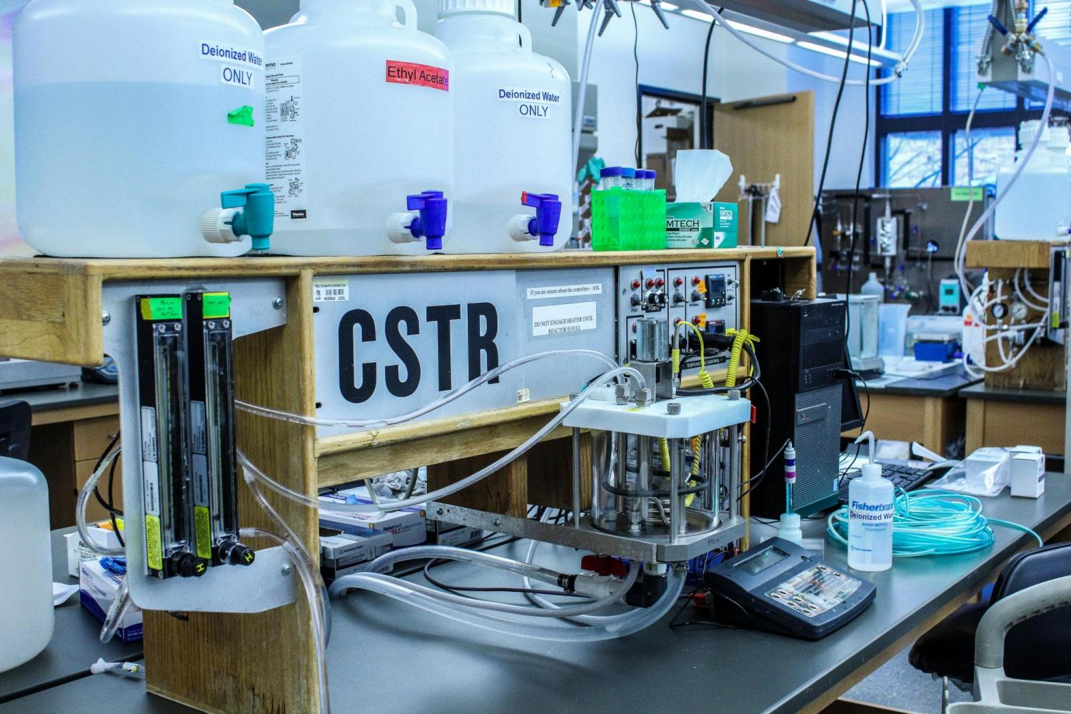 Lab equipment built by the instrument shop.