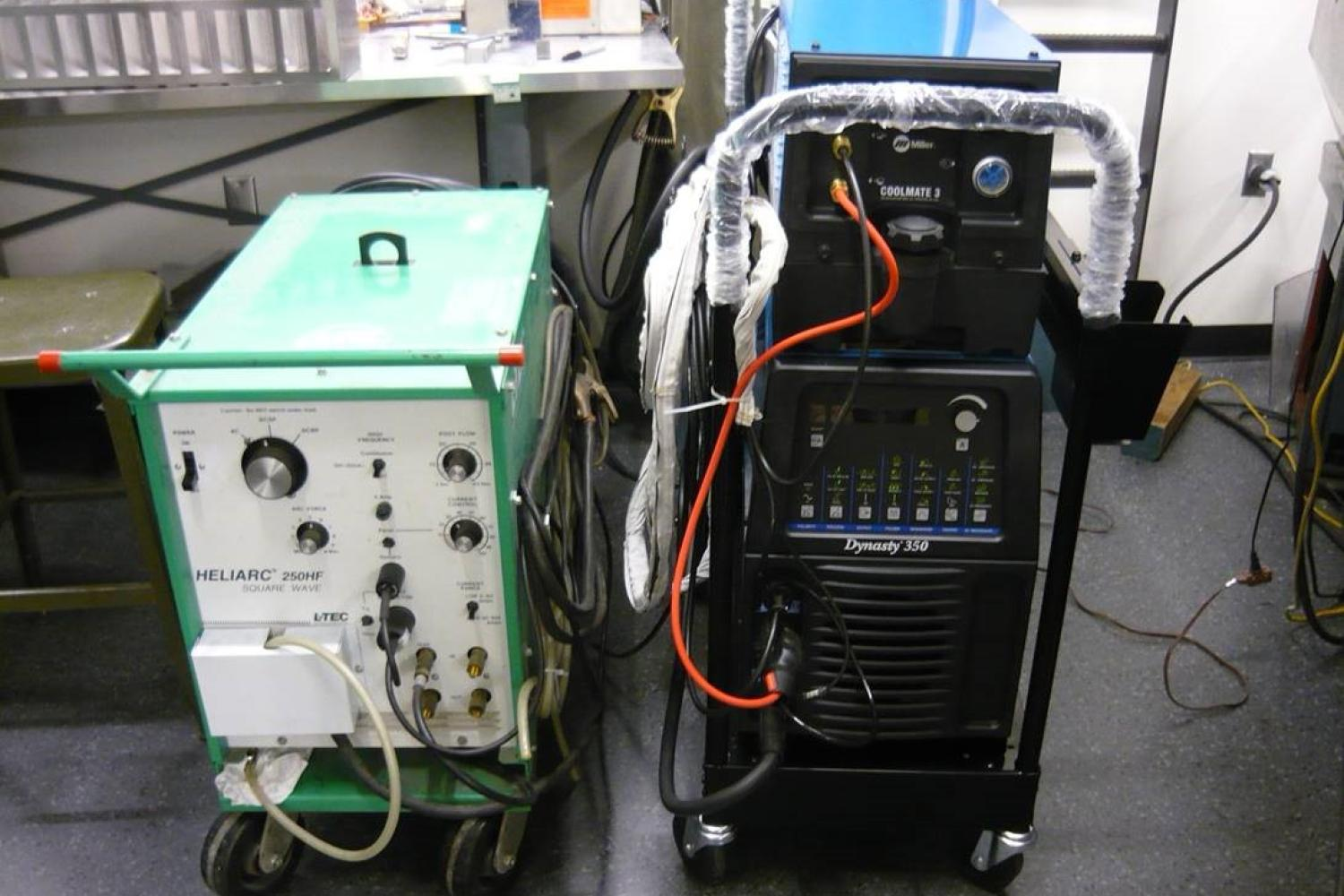 Welder and cooling unit in the instrument shop.