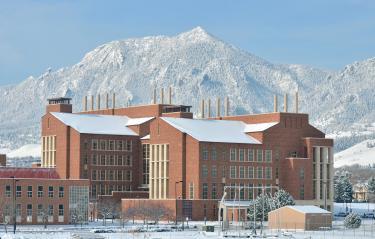 Biotech building in winter