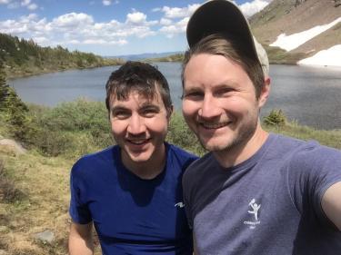 Stephen and Mark Kissler hiking